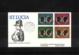 St. Lucia 1969 Napoleon FDC - Napoleon