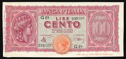 100 LIRE ITALIA TURRITA 10 12 1944  OTTIMO ASPETTO E BEI COLORI Spl+ LOTTO 2661 - 100 Lire