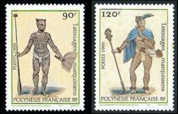 POLYNESIE 1999 - Yv. 584 Et 585 **   Faciale= 1,76 EUR - Tatouages Marquisiens (2 Val.)  ..Réf.POL24134 - Polynésie Française
