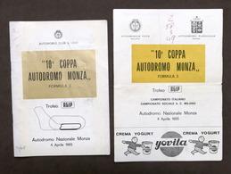 10^ Coppa Autodromo Monza - Formula 3 - Trofeo Agip - Aprile 1965 - Regolamento - Books, Magazines, Comics