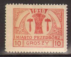 9. Poland 1918 Feb Przdedborz Local Issue Mint 10Gr Type III - ....-1919 Provisional Government