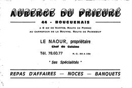 """¤¤    -   BOUGUENAIS   -   Carte De Visite De L' """" AUBERGE Du PRIEURE """" Route De Pornic - LE NAOUR Propriétaire   -   ¤¤ - Bouguenais"""