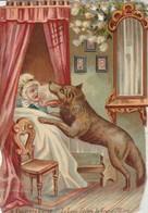 Chromos : Gaufré - Chocolat Poulain : Le Petit Chaperon Rouge - Le Loup Dévore La Grand'mère - N° 5 - Poulain
