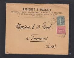 RADIGUET & MASSIOT CONSTRUCTEURS D'INSTRUMENTS POUR LES SCIENCES,PARIS.LETTRE POUR TAVANNES,SUISSE. - France