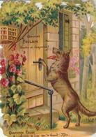 Chromos : Gaufré - Chocolat Poulain :  Le Petit Chaperon Rouge - Arrivée Du Loup Chez La Grand'mère - N° 4 - Poulain