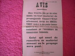 Affiche Authentique De L'Oberfeldkommandant 1940 ( Remises Des Tracts Jetés Par Alliés ) ) - 1939-45