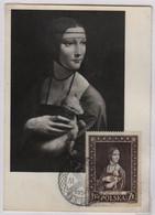Léonard De Vinci, La Dame à L'hermine, Carte Maximum, Pologne 23 10 1956 - Arte