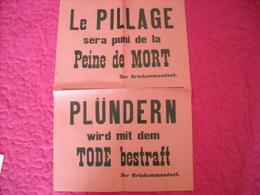 Affiche Authentique De L'ortskommandant  (peine De Mort Pour Pillage ) - 1939-45