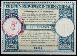 CUBA Lo15 12 CENTAVOS International Reply Coupon Reponse Respuesta Antwortschein IRC IAS O LA HABANA 23.02.53 - Briefe U. Dokumente