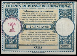 CUBA Lo15 12 CENTAVOS International Reply Coupon Reponse Respuesta Antwortschein IRC IAS O LA HABANA 1.7.54 - Briefe U. Dokumente