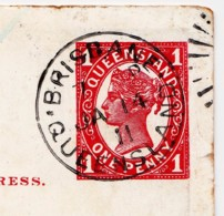 Queensland 1911 Prepaid One Penny Postcard Posted Brisbane - 1860-1909 Queensland