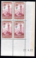 Andorre  46 Chapelle Bloc De 4 Coin Daté 22 4 32  Neuf * * TB MNH Sin Charmela Cote 175 - Andorre Français
