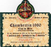 Chambertin 1980  Clos De Béze  Vin Sélectionné Par Les Jurés-Gourmets De La Confrérie Des Chevaliers De Castevin En 1984 - Bourgogne