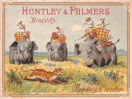 """¤¤   -   CHROMO Publicitaire Des Biscuits """" HUNTLEY & PALMERS """"   -  Eléphants , Tigre, Chasseurs, Chasse        -  ¤¤ - Publicité"""