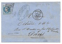 GALERNE BAUDET ORLEANS 16 MARS 1871 PARIS ABADIE - COMMUNE - N° 29 GC 2740 SUR LETTRE - COMMANDE PAPIER CIGARETTES - 1849-1876: Période Classique