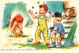 "¤¤   -  Illustrateur "" Germaine BOURET "" - Carte Moderne Retirée - Cirque , Chien, Jongleur   -  ¤¤ - Bouret, Germaine"