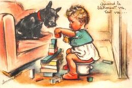 """¤¤   -  Illustrateur """" Germaine BOURET """" - Carte Moderne Retirée - Bébé Sur Son Pot De Chambre , Chien    -  ¤¤ - Bouret, Germaine"""