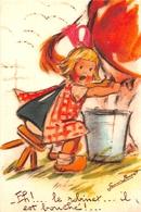 """¤¤   -  Illustrateur """" Germaine BOURET """" - Carte Moderne Retirée  -  Petite Fille Trayant Une Vache   -  ¤¤ - Bouret, Germaine"""
