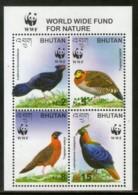 Bhutan 1997 WWF Himalyan Pheasant Birds Wildlife Sc 1398 Sheetlet MNH # 336 - W.W.F.