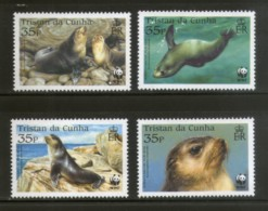 Tristan Da Cunha 2004 WWF Subantarctic Fur Seal Marine Life Animal Sc 747-50 MNH 344 - W.W.F.
