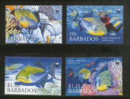 Barbados 2006 WWF Queen Trigger Fish Marine Life Animals Sc 1102-05 MNH # 379 - W.W.F.