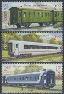 2012Ukraine1256-1258Trains 3,00 € - Treni