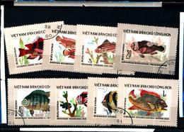6426b)  VIETNAM Del Nord, Scott# 831-838 1976 Pesci,,  -SERIE  -USATA - Vietnam