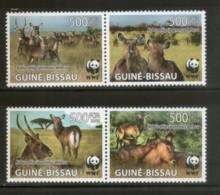 Guinea Bissau 2008 WWF Defassa Waterbuck Wildlife Animal Fauna 4v MNH # 423 - W.W.F.