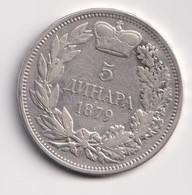 SERBIA , 5 DINARA 1879 - Serbia
