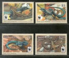 St. Lucia 2008 WWF Whiptail Lizard Reptiles Wildlife Animal Sc 1251-54 MNH # 427 - W.W.F.