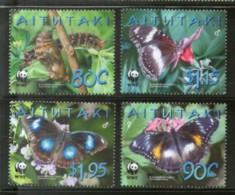 Aitutaki 2008 WWF Blue Moon Butterflies Insect Wild Life Animal Sc 539-2 MNH 429 - W.W.F.