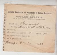 Ricevuta Giovani Operaie Torino 1937 Racconigi - Historische Dokumente