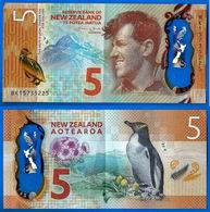 Nouvelle Zelande 5 Dollars 2015 Polymere Pingouin Animal Bird Canard New Zealand Pinguin Polymer Paypal Bitcoin - Nieuw-Zeeland