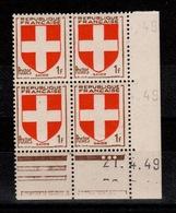 Variete - Coin Daté - YV 836 N** Armoiries Savoie Du 27.4.49 , Date De Biais Avec Debut D'autre Date - 1940-1949