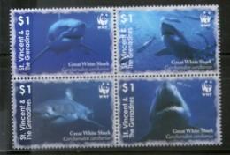 St. Vincent 2006 WWF Great White Shark Fish Marine Life Animal Sc 3529 MNH # 390 - W.W.F.