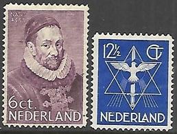 Netherlands  1933   Sc#198 6c William I & #200 12 1/2c  Dove  MH  2016 Scott Value $11.75 - Period 1891-1948 (Wilhelmina)