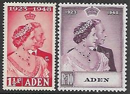 Aden  1948  Sc#30-1 Silver Wedding Set  MNH   2016 Scott Value $37.90 - Aden (1854-1963)