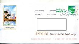 Pap Feuille Verte Flamme Chiffree Illustré Chateau Tour La Rochelle - Prêts-à-poster:  Autres (1995-...)