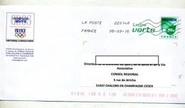 Pap Feuille Verte Flamme Chiffree Illustré Comite Olympique Champagne - Prêts-à-poster:  Autres (1995-...)