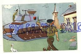 Humour Militaire. Tank En Panne? Burette D'huile. Signée Maezelle. 1969 - Humour