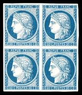 N°8, Non émis, 20c Bleu Sur Jaunâtre En Bloc De Quatre, Toujours Sans Gomme. SUPERBE. R.R.R (signé Brun/Calves/certifica - 1849-1850 Ceres