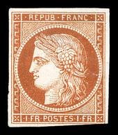 N°7B, 1F Vermillon Terne Foncé, Léger Pelurage, Provenant De La Collection Lafayette (lot N°76), Très Belle Nuance. SUPE - 1849-1850 Ceres