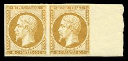 N°9e, 10c Bistre, Impression De 1862 En Paire, Bord De Feuille Latéral, Très Jolie Pièce, SUP (certificat)   Qualité: * - 1852 Louis-Napoléon