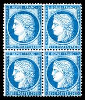 N°60, 25c Bleu En Bloc De Quatre (2ex*), Fraîcheur Postale (signé Calves/certificat)  Qualité: ** - 1871-1875 Cérès