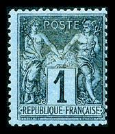N°84, 1c Noir Sur Bleu De Prusse, Frais, SUPERBE. R.R. (signé Brun/certificats)  Qualité: *  Cote: 17000 Euros - 1876-1898 Sage (Tipo II)