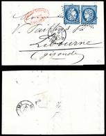 N°4c, 25c Bleu Vif En Paire Tête-bêche Obl étoile Légère + Càd Paris 3e/10 Sur Petite Lettre Avec Texte. SUPERBE. R.R.R - 1849-1876: Periodo Clásico