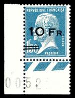 N°4, Pasteur Surchargé à Bord Du Paquebot 'ILE DE FRANCE' 10F Sur 1,50F Bleu Coin De Feuille Numéroté, Exceptionnelle Fr - 1927-1959 Nuevos