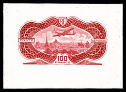 N°15A, NON EMIS, 100F Burelé: épreuve En Rouge-vif Sans Burelage, R.R.R, SUPERBE (signé Scheller/certificat)  Qualité: ( - Poste Aérienne