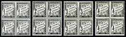 N°10/13, Duval: 1c, 2c, 3c Et 4c Noir En Bloc De Quatre, Quelques Exemplaires *, Fraîcheur Postale, SUP (signé Scheller/ - 1859-1955 Postfris