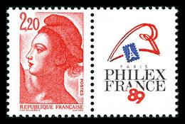 N°2461b, Philexfrance 2f20 Liberté, Sans Phosphore. TB (signé Calves/certificat)  Qualité: **  Cote: 1350 Euros - Varieties: 1980-89 Mint/hinged